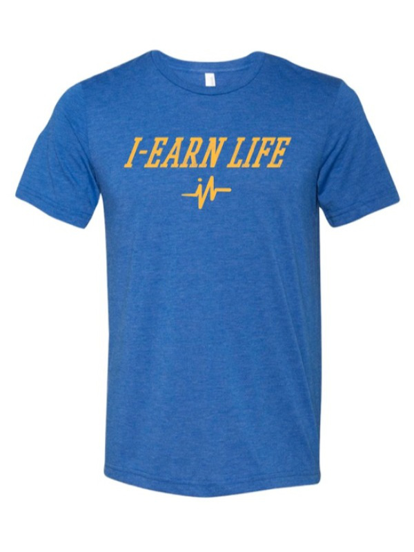 Men's Short Sleeve Blue and Gold T-Shirt