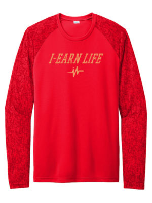 I-Earn Life Men's Red and Gold Long Sleeve Shirt