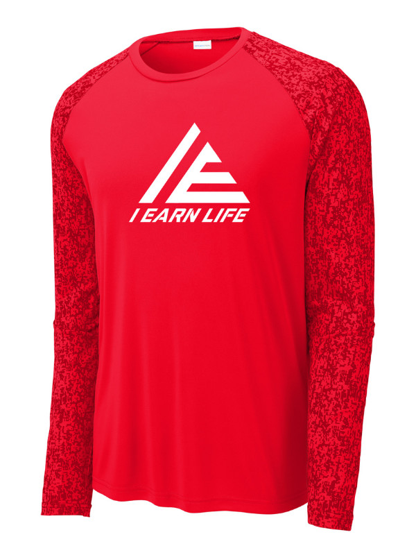 I Earn Life Red and White Long Sleeve Shirt