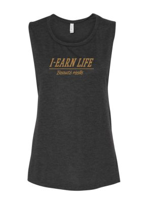 I-Earn Life Women's 'Beauté réelle' Sleeveless Black and Gold Top