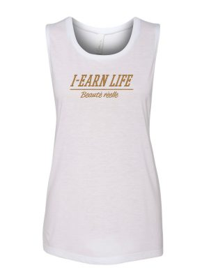 I-Earn Life Women's 'Beauté réelle' Sleeveless White and Gold Top